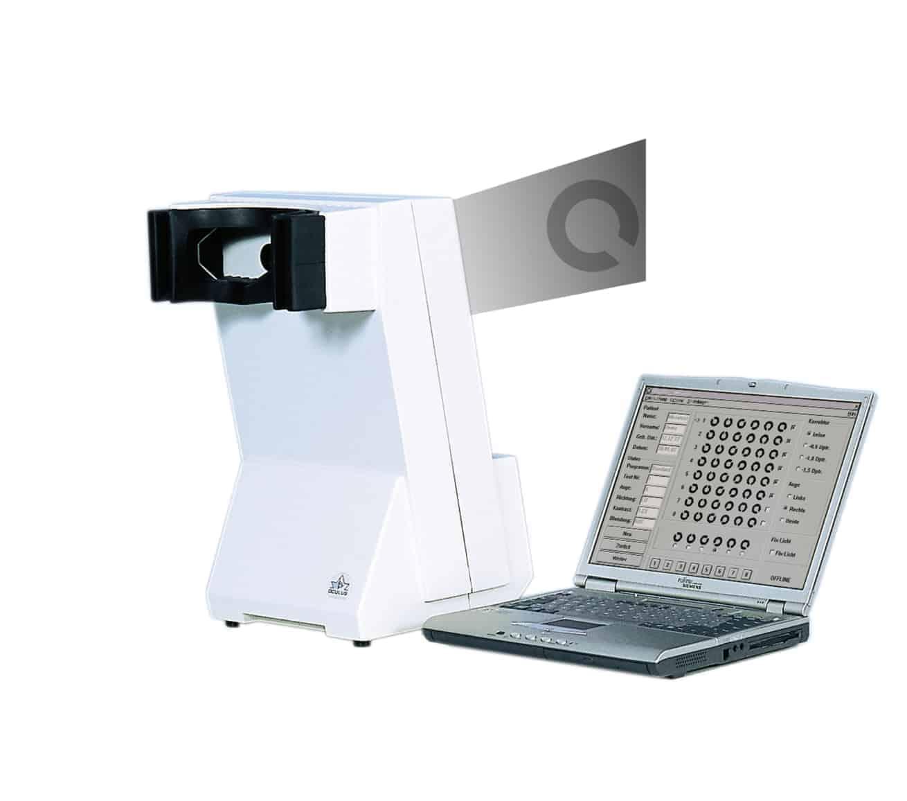 Mesotest - Produkt mit Laptop für augenärztliche Gutachten (Führerschein, Flugschein, Polizei)