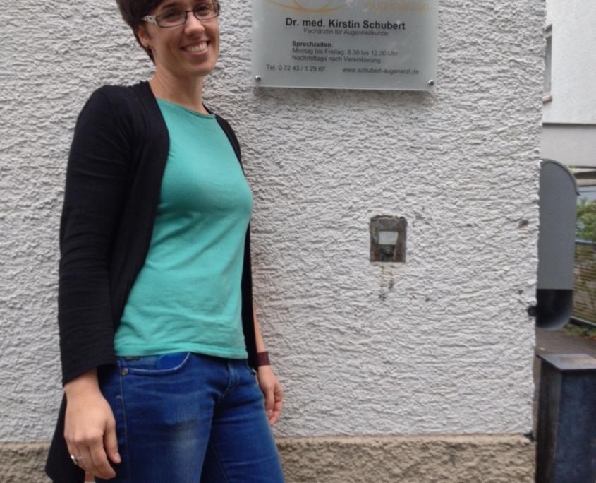 Praxisgeschichte: Dr. Kirstin Schubert 2013 nach der Praxisübernahme - Augenarztpraxis Ettlingen