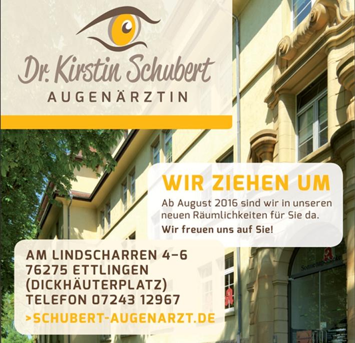 Praxisgeschichte: Ankündigung des Umzugs der Augenarztpraxis Ettlingen von der Mühlenstraße an den Lindscharren