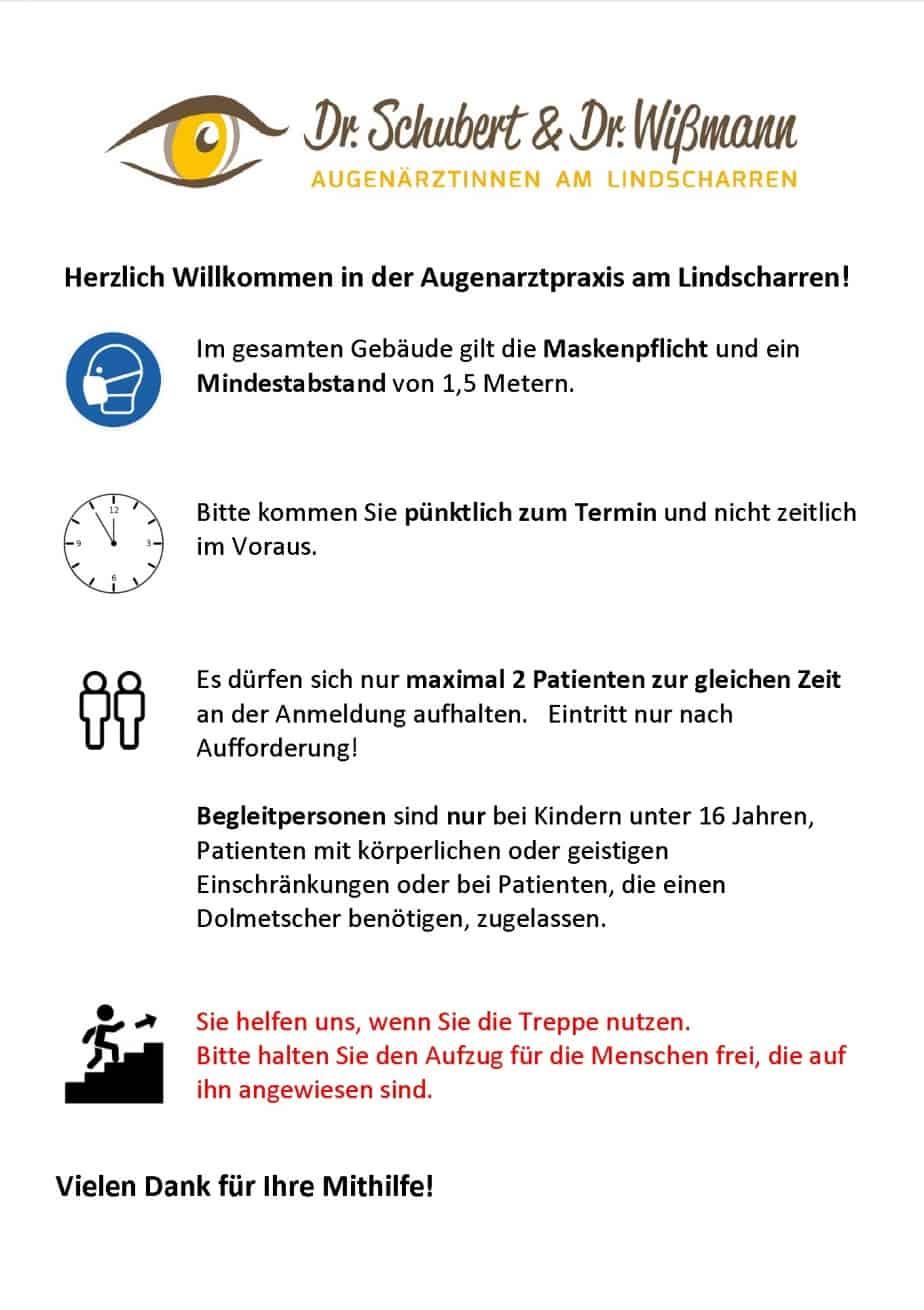 Aktuelle Corona Hinweise Ihrer Augenartzpraxis Dr. Schubert / Dr. Wißmann in Ettlingen